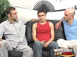 Naughty gay Jean-phillipe getting humped by two impossible dicks on the couch